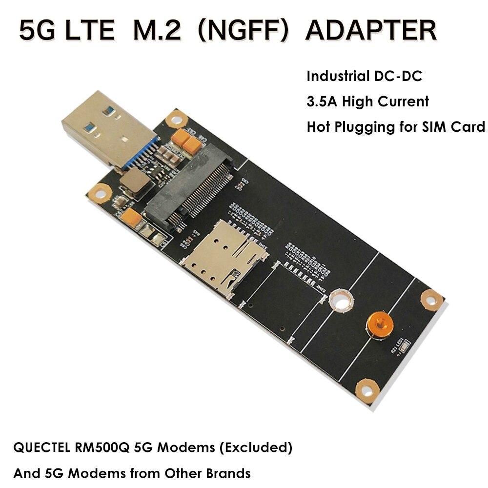 محول 5G 4G LTE الصناعية M.2(NGFF) إلى USB3.0 مع فتحة بطاقة نانو SIM ، متوافق مع وحدة 5G LTE مثل Quectel RM500Q وما إلى ذلك.