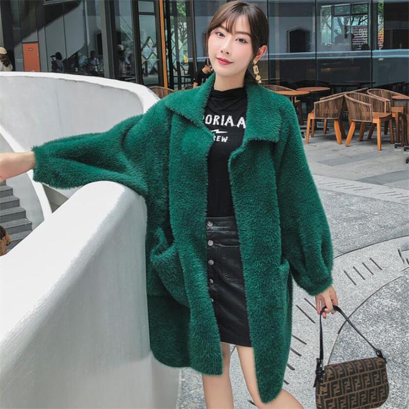 2020 outono inverno manga longa cardigan de malha feminino imitação cashmere suéter casaco senhoras malha falso mohair jaqueta n223