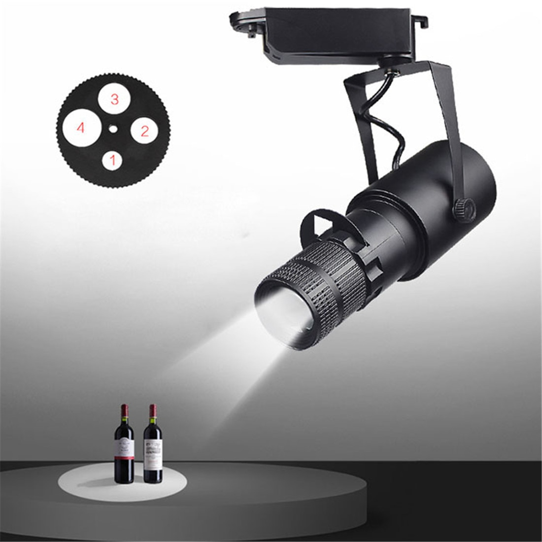 AliExpress - Theater Stage Zoom Spotlights, LED Focus Logo Projector Track Lights,Industrial Gobo Lights for Company Restaurant Store Wedding