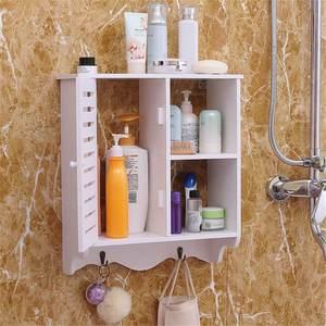 Wooden Bathroom Storage Cabinet Wall Mounted Storage Shelves Hanging Storage Organizer Waterproof Bathroom Cupboard 15X6X17in