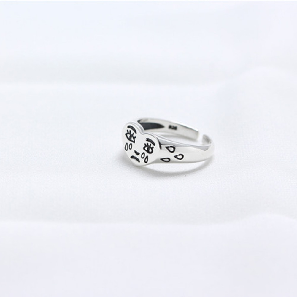 Korean Fashion Crying Heart Ring For Women Girls Trendy Vintage Solid Color Open Adjustable Ring Special Fashion Jewelry Gift