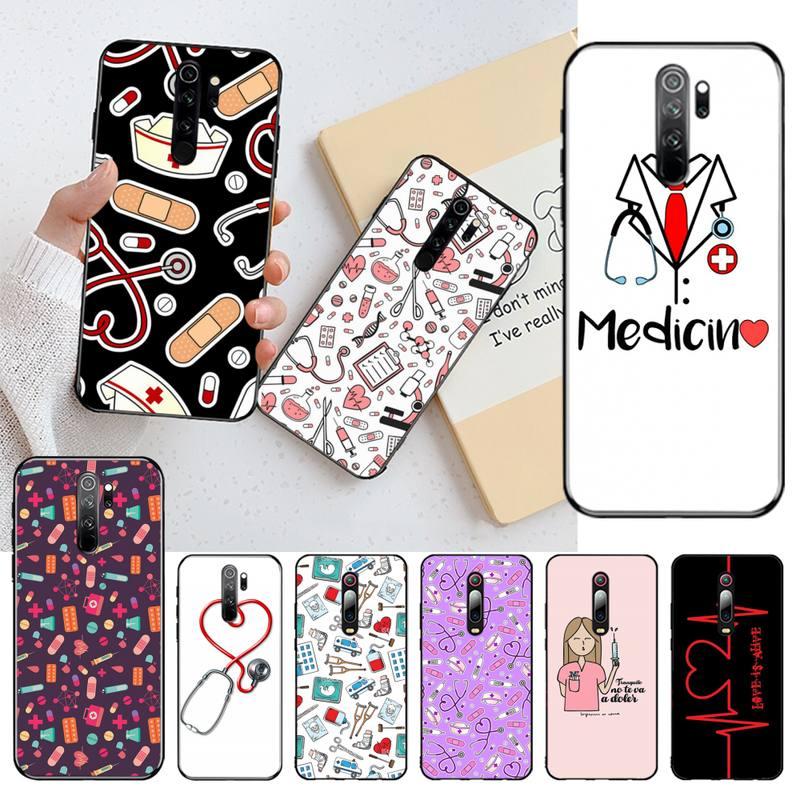 CUTEWANAN, medicina médica, salud, corazón negro, funda del teléfono carcasa, Capa para Redmi Note 8 8A 8T 7 6 6A 5 5A 4 4X 4A Go Pro
