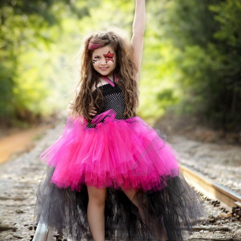 Girls Princess Lace Party Mesh Dresses Kids Halloween Cosplay Costume Role Play Dress Up Outfit Child Pretend Game Birthday Suit