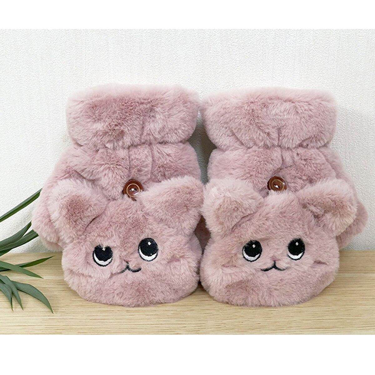 Плотные теплые пушистые перчатки с открытыми пальцами милые парные раскладные перчатки мужские и женские мужские зимние перчатки для рук