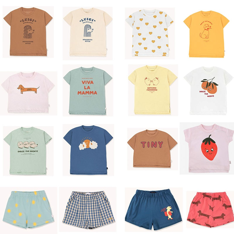 EnkeliBB 2020 New Toddler Boy Girl Fashion Brand T Shirts Baby Cotton O Neck Tops For Summer Strawberry Orange Print Child Tees