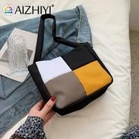 fashion women canvas color patchwork shoulder underarm bag casual ladies small tote handbags purse