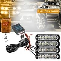 4 in 1 led emergency warning light 12 24v 6led strobe light amberwhite with remote police flash grille light for car truck boat