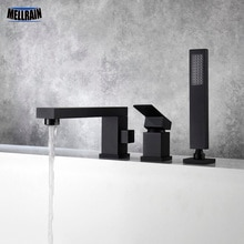 Salle de bain baignoire robinet deau 3 trous pont monté bain douche robinet brossé or et noir baignoire toilette mélangeur deau