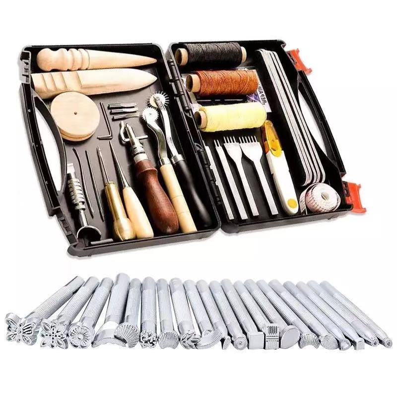 الجلود المهنية أداة للحرف اليدوية عدة ، أدوات خياطة سرج مصنوع من الجلد نحت المواد مع صندوق أدوات جلدية