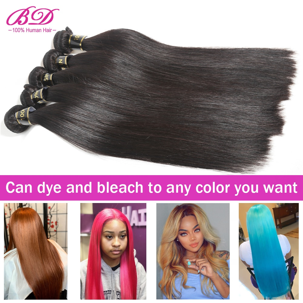 Pelo BD grado 10A pelo virgen brasileño sin procesar mechones de cabello humano recto cutícula alineada Color Natural recto sin procesar