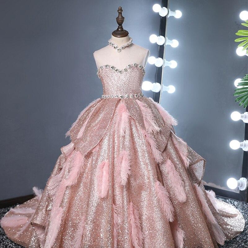 فستان بناتي مزين بالترتر مزين بالدانتيل, فستان بناتي مزهر بدون أكمام مناسب للحفلات الراقصة