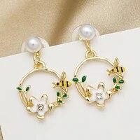 korean exquisite flower butterfly drop earrings shining zircon temperament bee wreath daisy rose tassel wedding bridal earrings