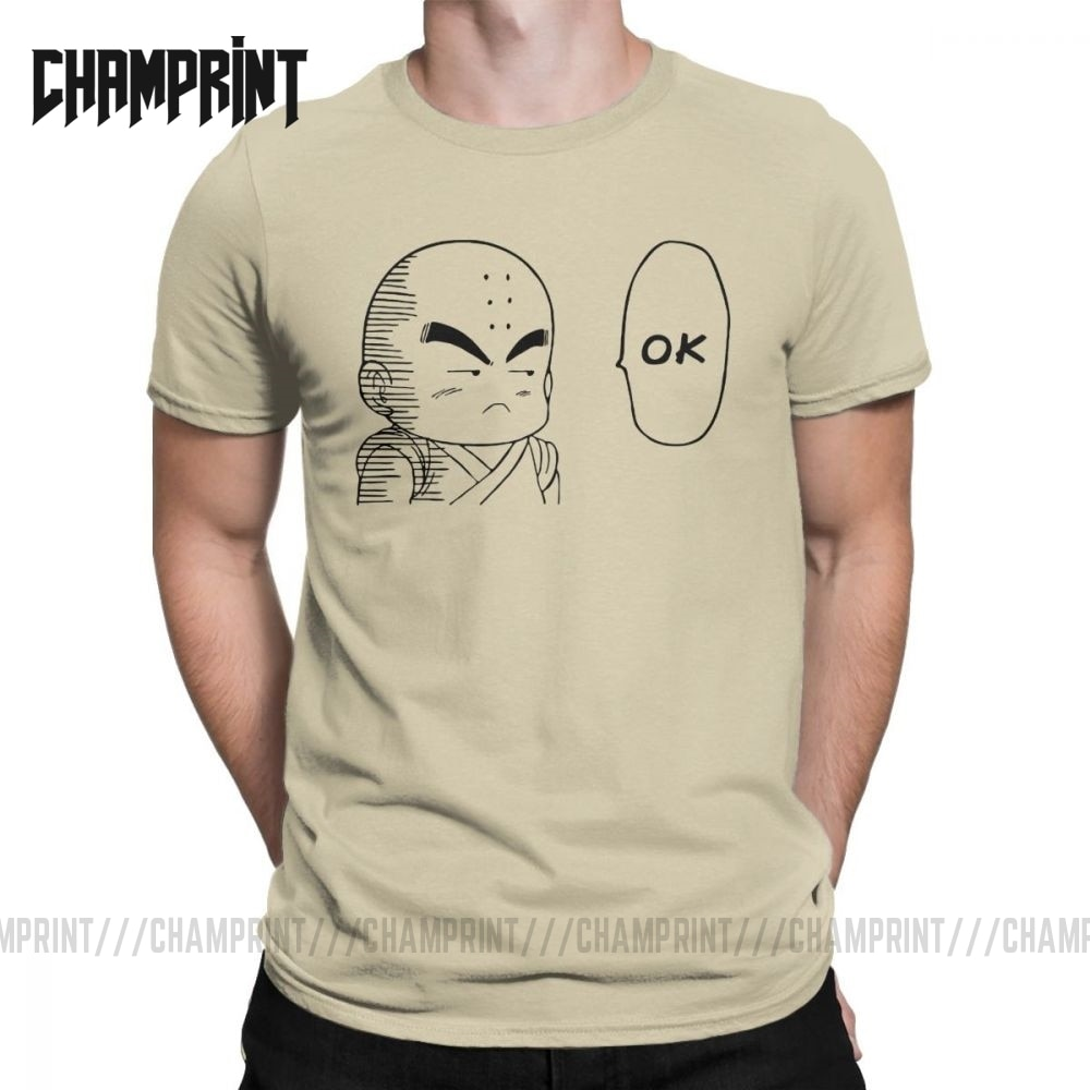 Krilin OK Dragon Ball koszulka męska 100% bawełniana koszulka Goku Super Saiyan Vegeta Dbz Anime Ultra Harajuku koszulka z krótkim rękawem