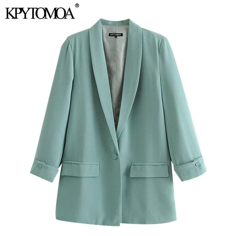 ملابس عصرية للنساء موضة 2021 من KPYTOMOA بلازير ذات زر واحد معطف عتيق بجيوب بأكمام طويلة ملابس خارجية نسائية أنيقة