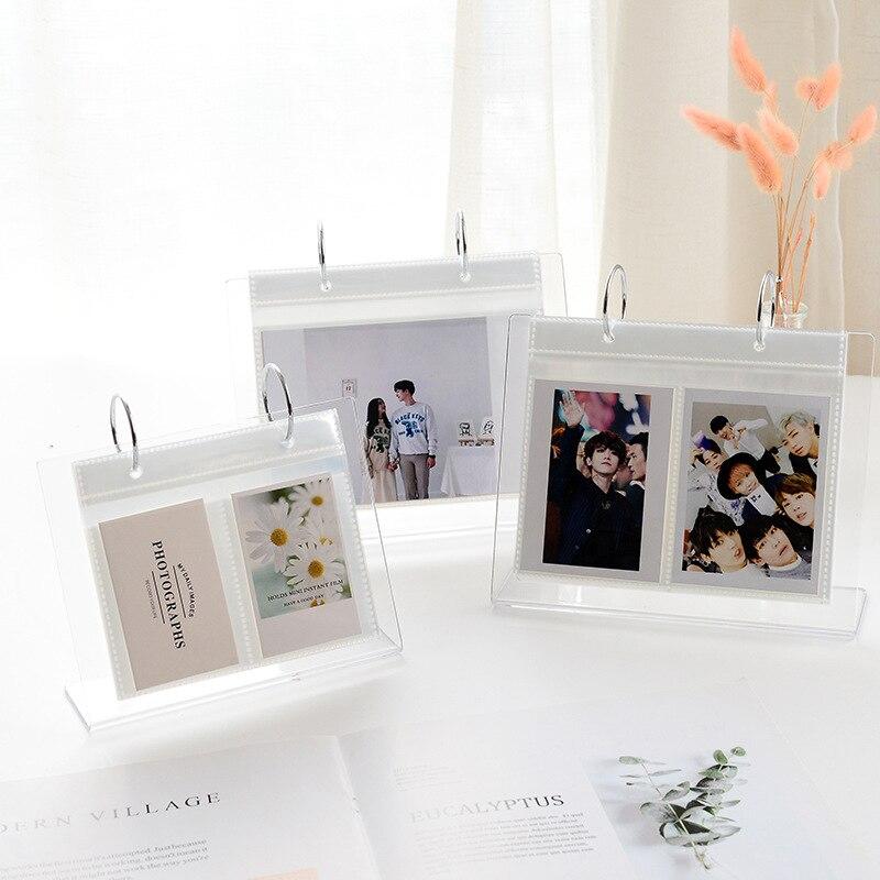 Акриловые открытки 3 дюйма/5 дюймов, коллекционная книга, мини фотоальбом, органайзер для карт со звездами, настольная стойка, держатель для ...