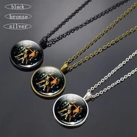 12 constellation glass dome long necklace fashion men and women zodiac pendant jewelry accessories birthday gifts for friends