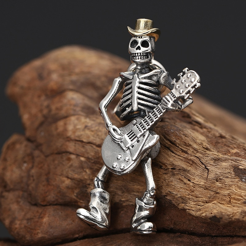 Thai Silver Punk Rock Guitarist Skull Pendant For Men and Women Hip-hop Personalized S925 Sterling Silver Jewelry Pendant TSP251