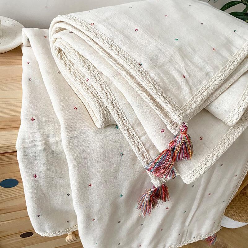 Newborn Baby Swaddling Blankets 6 Layers Muslin Organic Baby Blanket Swaddle Wrap Soft Toddler Stroller Bedding Blankets Bohemia