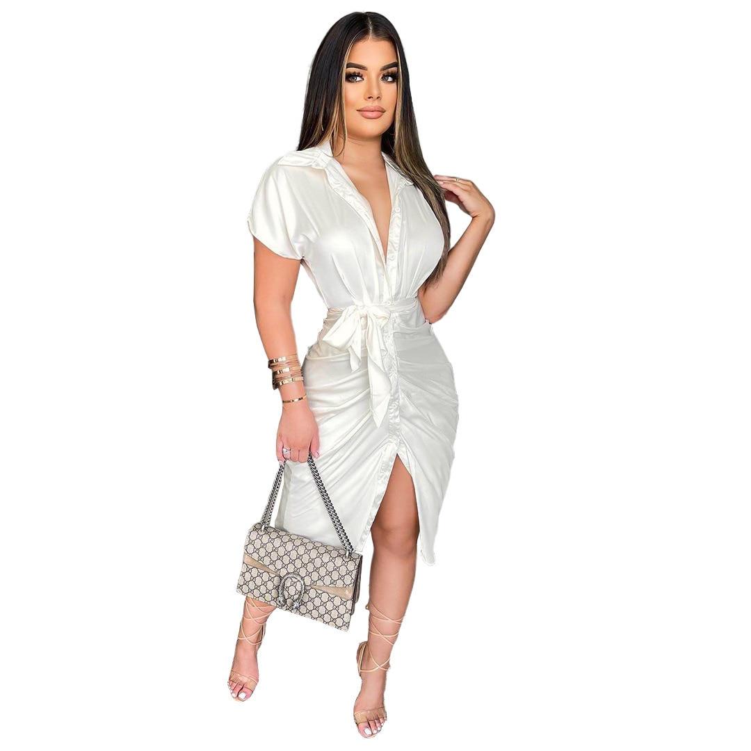 Vestidos camiseros para mujer, Vestido Sexy fruncido de color Blanco y rosa para fiesta de cumpleaños y Club, Vestido Blanco 2021