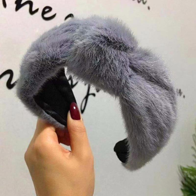 Winter Thick Furry Hairbands Warm Wide Faux Fur Plush Head Band Bezel Lamb Wool Hair Band Women's Hair Accessories