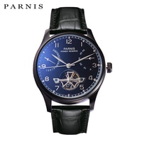 New Parnis 43mm Skeleton Watch Automatic PVD Case Men Power Reserve Tourbillon Mechanical Watches Calendar Top Luxury Brand 2020