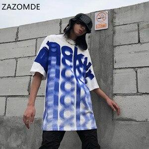ZAZOMDE T Shirt Men Gradient Letter Inkjet Print O-Neck Men's Tee Shirts Summer Oversized T Shirt Tops Harajuku Male Streetwear