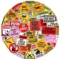 103050100pcs warning stickers danger banning skateboard guitar laptop phone car motorcycle classic toy cool decal kid sticker