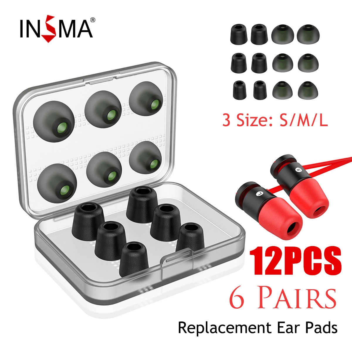 AliExpress - INSMA 12/24pcs Set Replacement Noise Isolating 3pairs Memory Foam tips & 3pairs Silicone Earbuds Ear Pads for Headphone Earphone