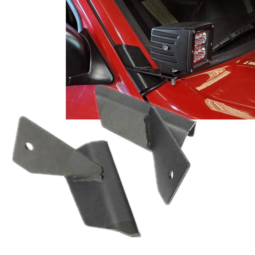 1 Pair Car A-Pillar Windshield Mounting LED Work Fog Light Bar Bracket for Jeep Cherokee XJ accessories 1984-2001