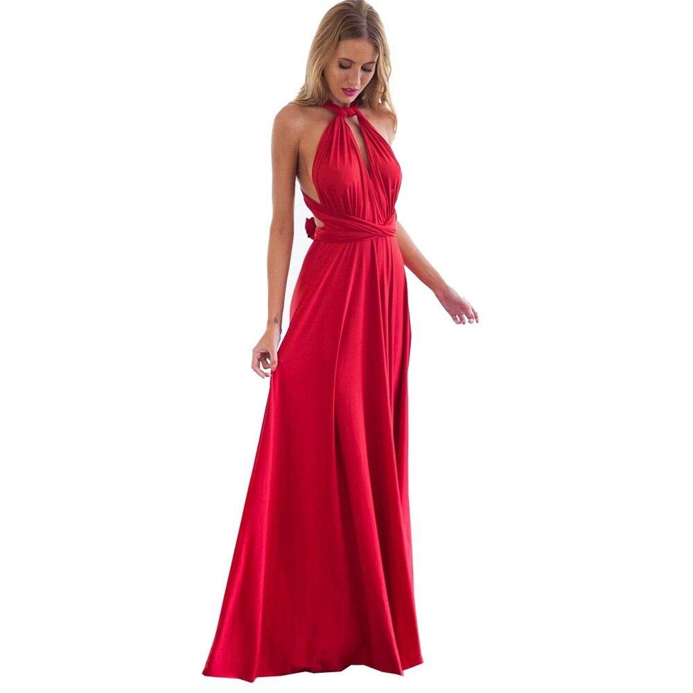 Sexy Women Multiway Wrap Convertible Boho Maxi Club Red Dress Bandage Long Dress Party Bridesmaids I