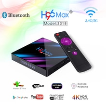 H96 MAX 9.0 Android Smart TV Box 4GB + 64GB sans fil IPTV boîte 4K USB décodeur WiFi 5G pour Netflix Youtube Google Play