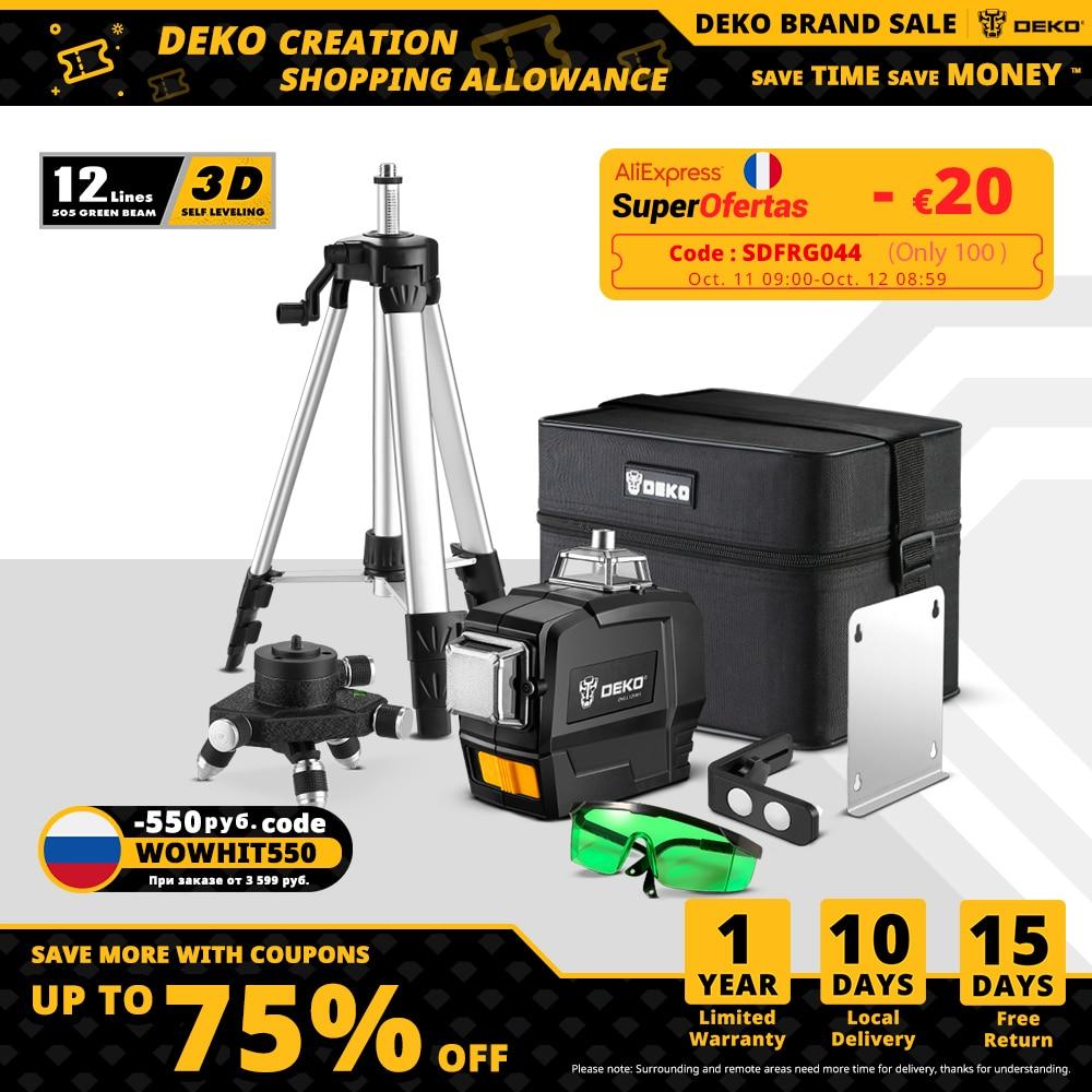 Лазерный уровень 360 DEKO DC, горизонтальный и вертикальный 3D-лазер 12-линейный зеленый с автоматическим самовыравниванием, лазерный дальномер | Инструменты | АлиЭкспресс