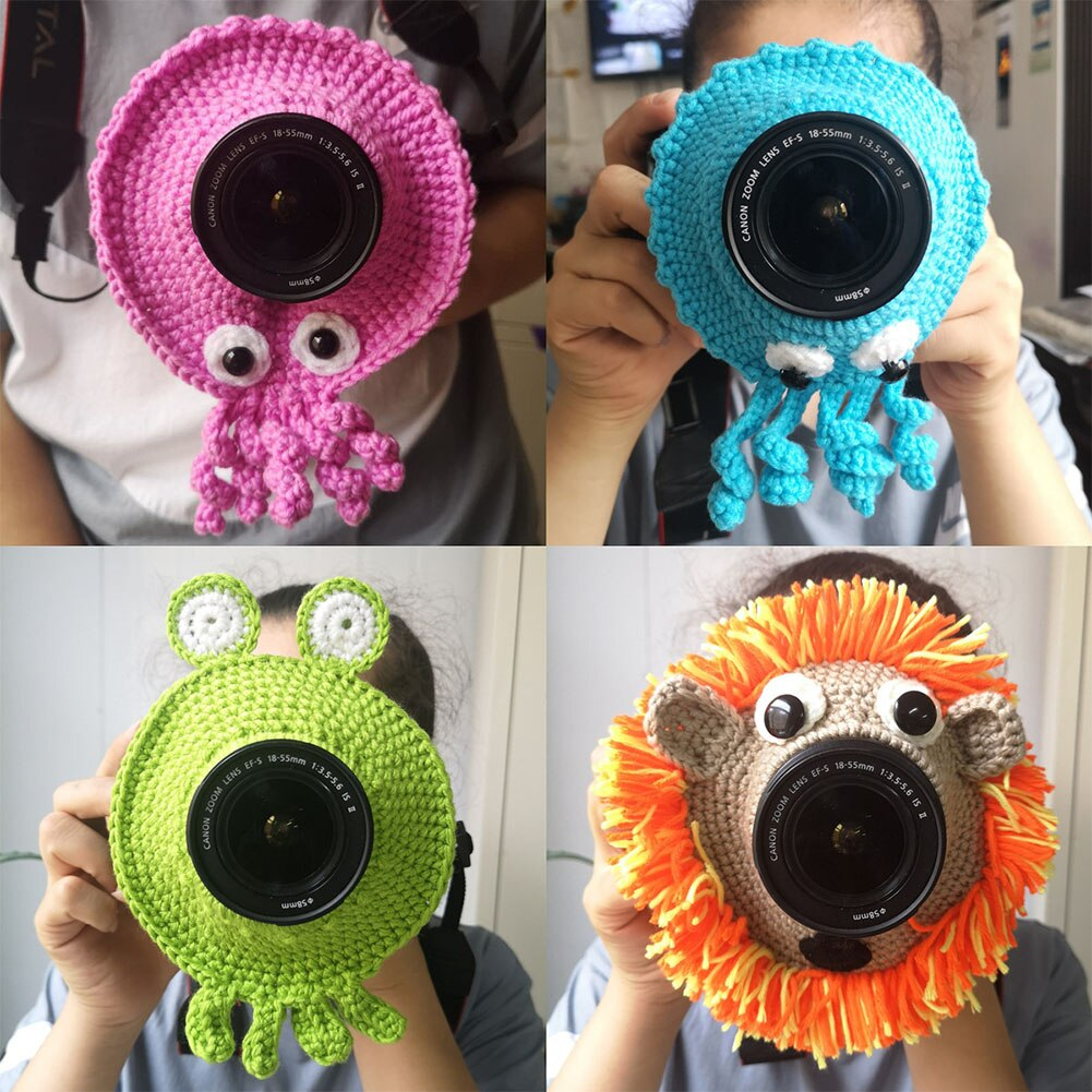 Cute Animal Camera Buddies Lens Accessory for Child/Kid/Pet Photography Knitted Lion Octopus Teaser Toy Lens Posing Photo Props