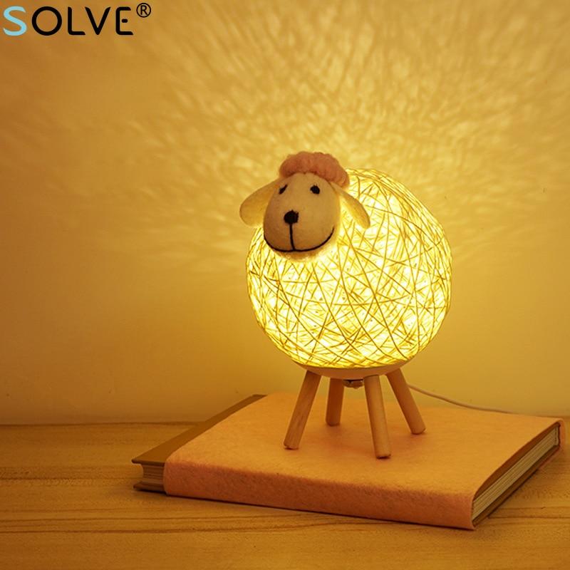 خراف لطيفة LED ضوء الليل المنسوجة يدويا عاكس الضوء زر يعتم النوم مصباح غرفة نوم السرير غرفة الديكور الحيوان الجدول مصباح