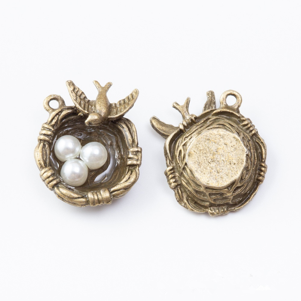 2 Fashion Cute Bird Nest Pendant Necklace 24*20*9MM Metal Charms for Handmade Jewelry  - buy with discount