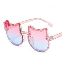 Kids Sunglasses Girls Boys Shiny Bowknot Sun Glasses Lovely Cat Children Eyewear Fashion Gradient Ey