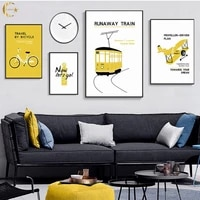 bicycle train canvas painting modern personalized picture wall art poster cartoon travel tool yellow prints for home decor