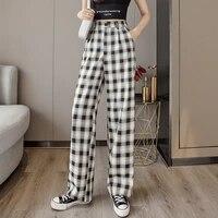 wwenn slacks womens loose summer plaid pants soft lce silk long length wide leg pants women high waisted trousers