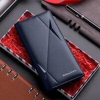 Новый RFID высокое качество мужское портмоне из натуральной кожи кошелек модный дизайн длинный кошелек мобильный телефон с отделением для кр...