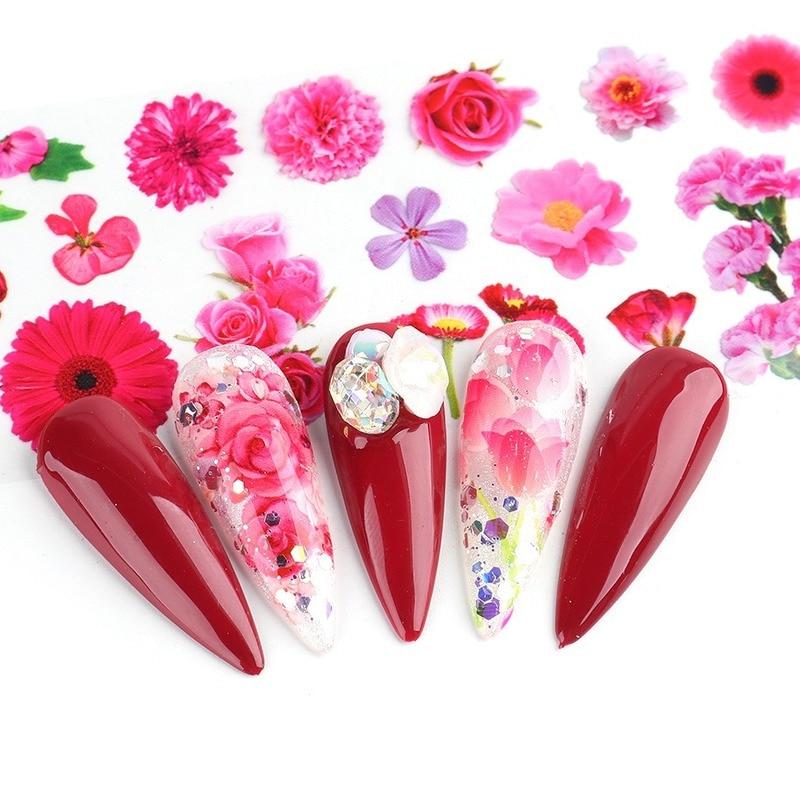 4*20cm Spring Artificial Flower Nail Art Foil Transfer Glitter Stickers Nail Art Decals Designer Manicure Decoration New Arrival