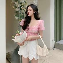 Fashion Suit 2021new Women's Summer Retro Short Chiffon Shirt + White Casual Two-Piece Pants