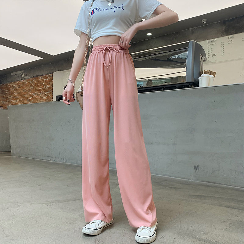 MINGLIUSILI Korean Style Trousers Women Black High Waist Wide Leg Pants Women Spring 2021 Fashion Loose Casual Straight Pants