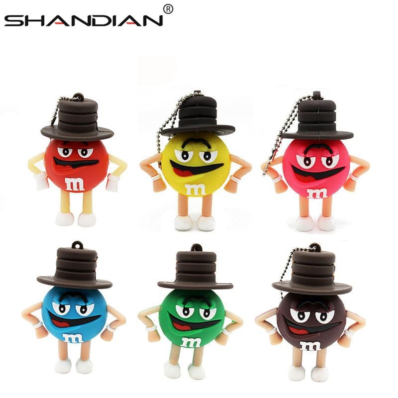SHANDIAN free delivery wholesale cute M bean pen drive usb flash drive 4G 16G 32G 64GB USB cartoon Memory Stick pen driver gif