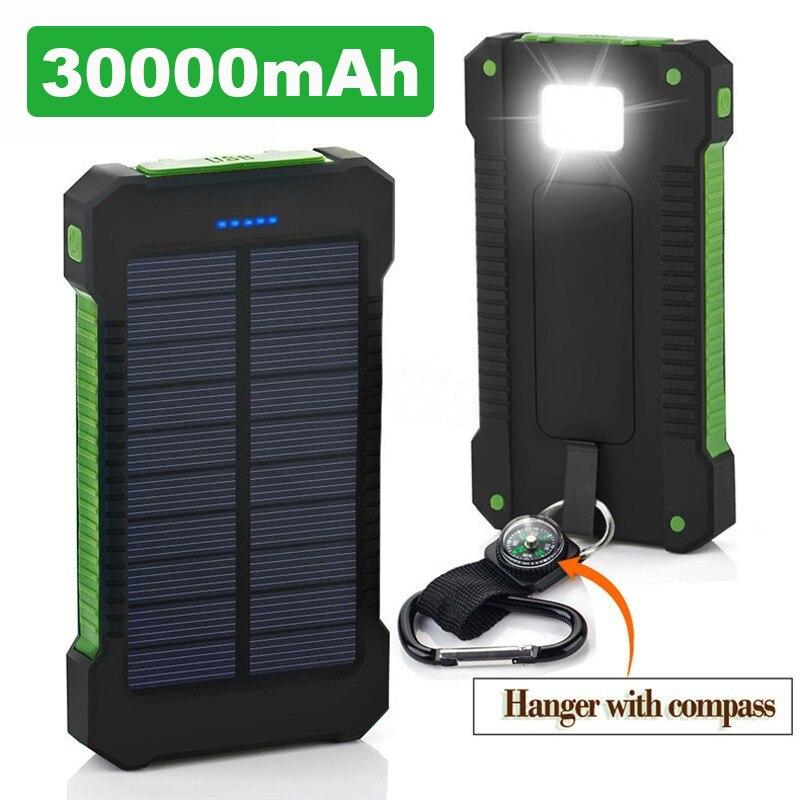Heißer Solar Power Bank Wasserdicht 30000mAh Solar Ladegerät 2 USB Ports Externe Ladegerät Power für Xiaomi MI iPhone 8 smartphone
