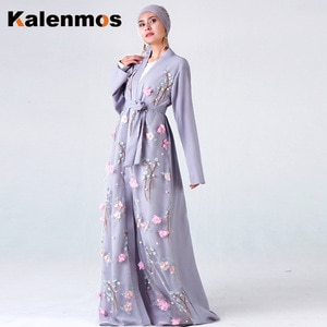 KALENMOS Dubai Arab Open Abaya Women Muslim Long Robe Embroidery Floral Maix Hijab Dress Lace-up Islamic Clothing Kaftan Kimono