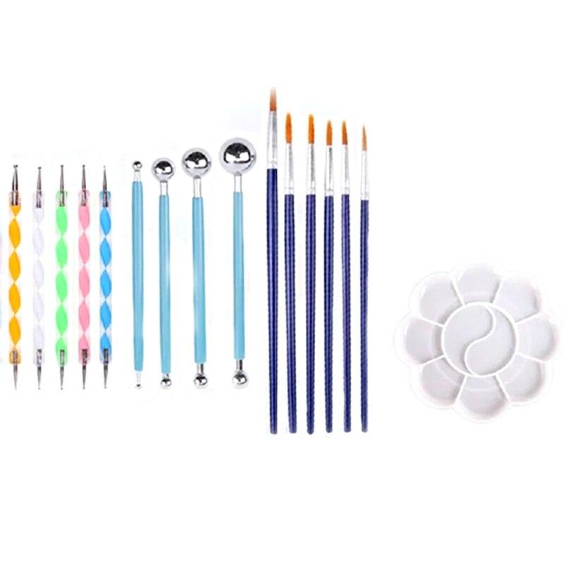 20 pçs kit de ferramentas de pintura ponto mandala pontilhar ferramentas conjunto para pintura rochas, pintura pedras ponto kit, caneta pintura diy