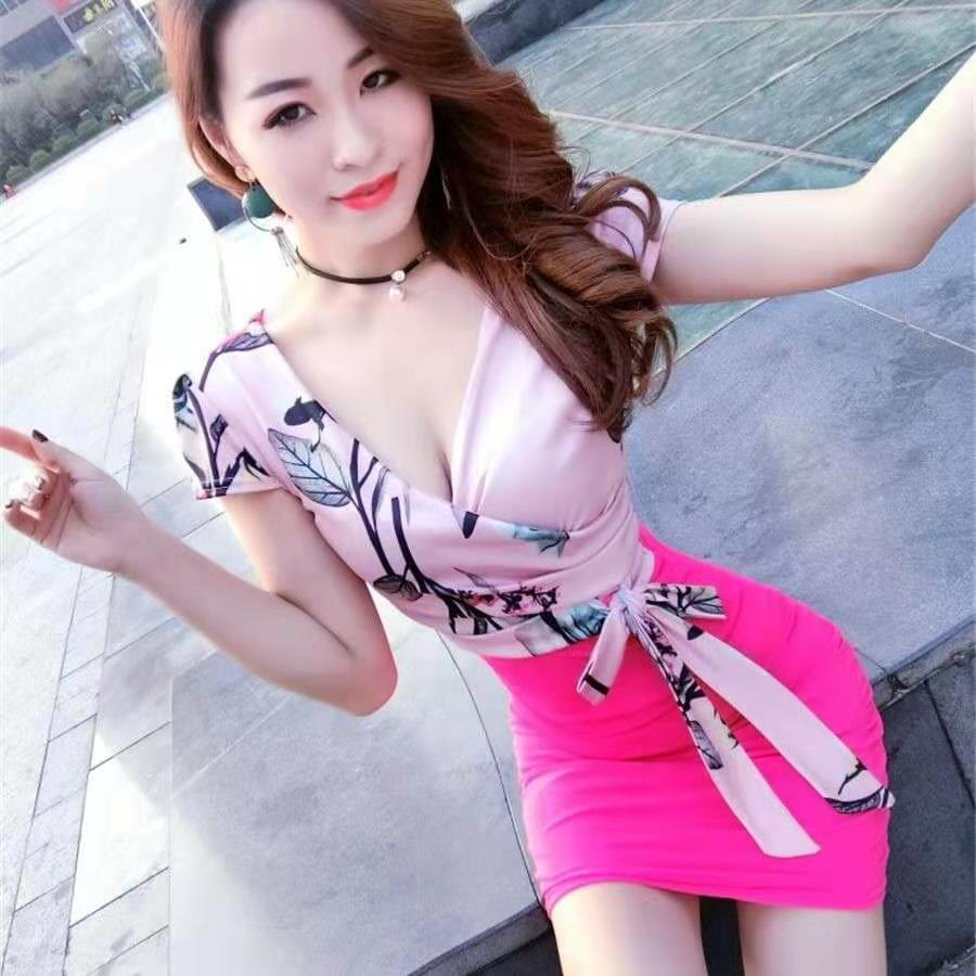 2021 new fashion nightclub sexy careful machine night low-cut skirt female summer slim slimming hip dress