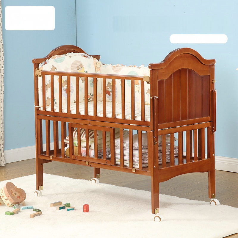 6 in 1 Convertible Crib and Changer, Multifunctional Pine Wood Baby Bed, 115*67*104CM, Newborn Cradle Cot