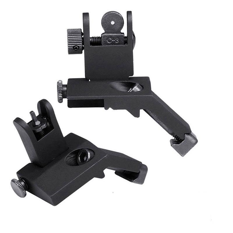 Фото - Tactical Front and Rear Flip Up 45 Degree Offset Rapid Transition Backup Iron Sight Rail Mount Set Hunting Gun Accessories folding tactical flip up sight rear front sight mount transition backup iron sight rapid rifle rts for paintball accessories