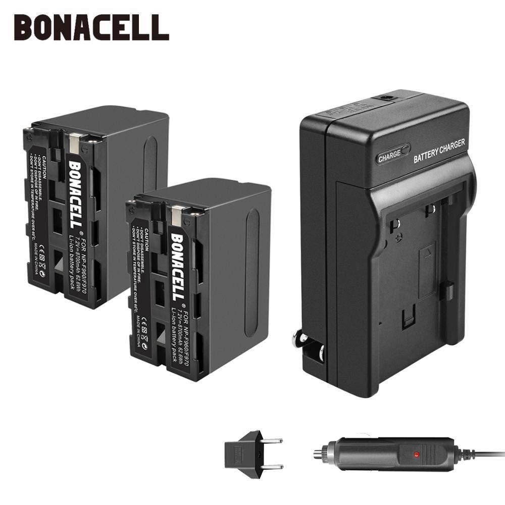 Bonacell 7.2V 8700mAh NP-F960 NP-F970 F960 F970 F950 Bateria + Carregador Para Sony NP PLM-100 CCD-TRV35 MVC-FD91 MC1500C L50
